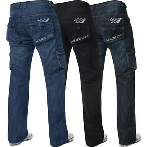 Kruze-Mens-Cargo-Combat-Trousers-Jeans-Work-Denim-Pants-Big-King-All-Waist-Sizes