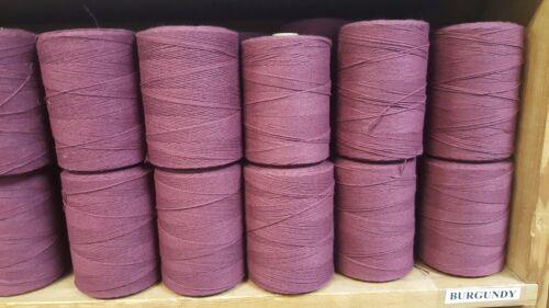 Lot of 10 Cotton//Polyester Blend Rug Warp 1//2 lb ea. Color Burgundy