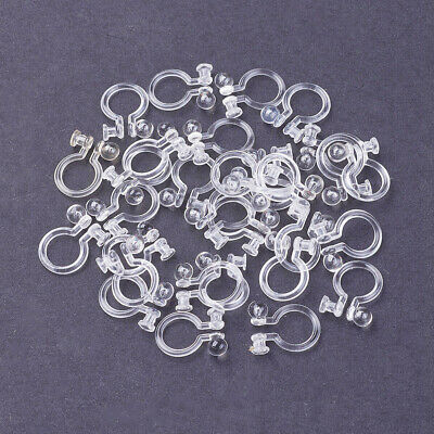 100x Clear Plastic Clip-on Earring Blanks Non-Pierced Converter Findings 10.5mm