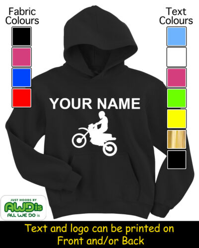 HOODIES PERSONALISED MOTOCROSS MX BIKE HOODY GREAT GIFT FOR A CHILD /& NAMED