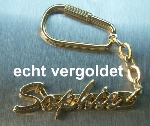 EDLER SCHLÜSSELANHÄNGER SOPHIE ECHT VERGOLDET GOLD NAME KEYCHAIN KEYRING NEU