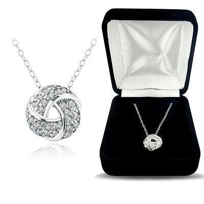 925 Silver 1/4ct TDW Natural Diamond Love Knot Necklace, (H-I, I2)