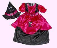 HALLOWEEN HEXE HEXENKOSTÜM Pink CAT Katze schwarz Hexenkleid+Hexenhut 98-104-110