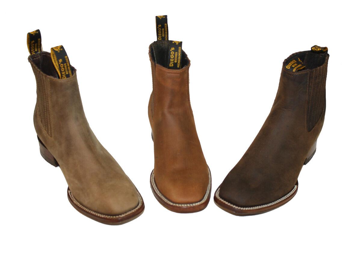 Para Hombre Estilo Western Cowboy Slip On ankle-suede Squire botas  Nuevo ,99