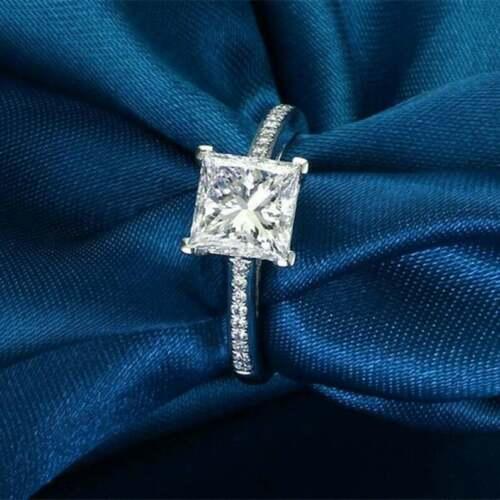 1 Ct Princess Cut Diamond Solitaire Wedding Engagement Ring 14K White Gold GP 5