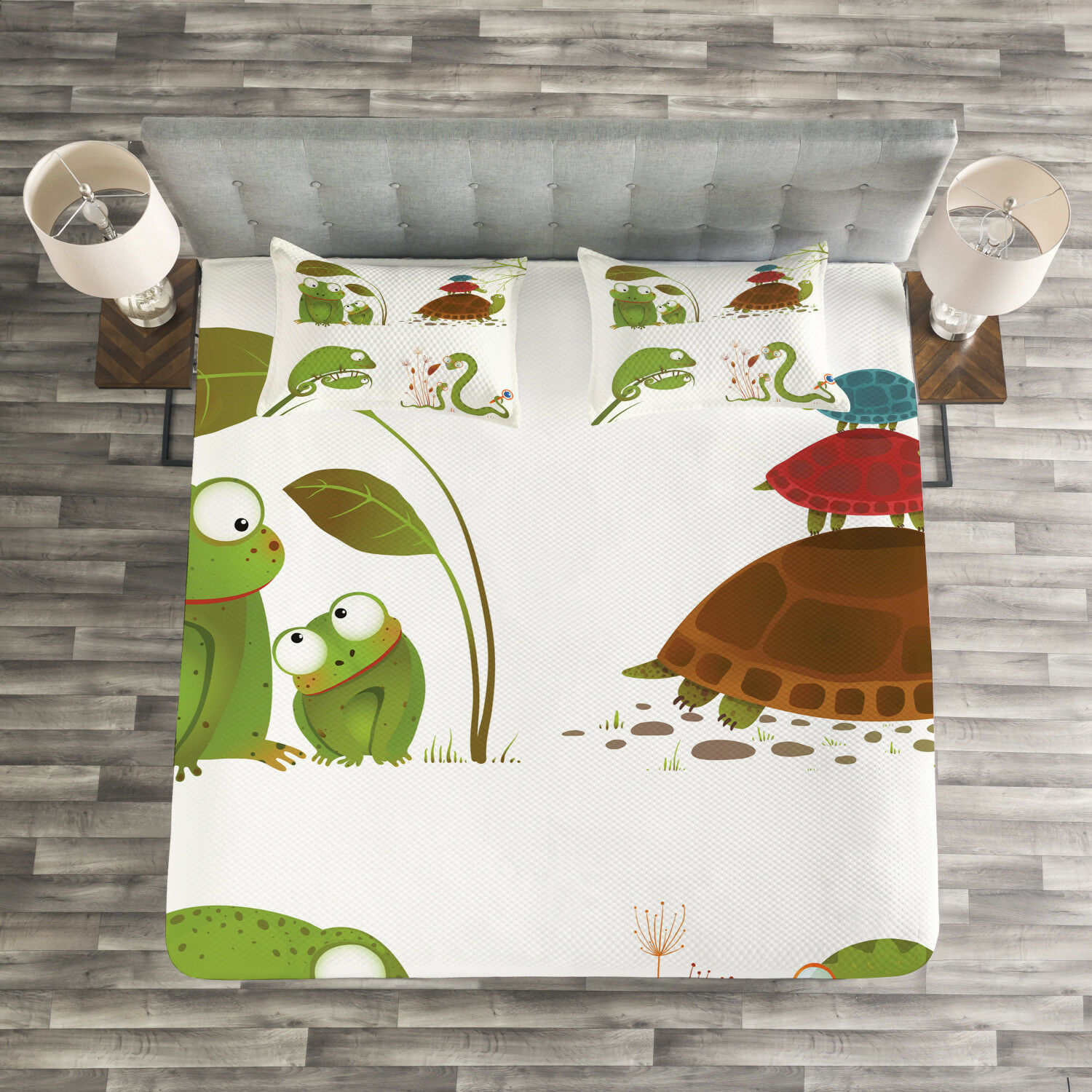 Animal Quilted Bedspread & Pillow Shams Set, Snake Frog Ninja Reptile Print