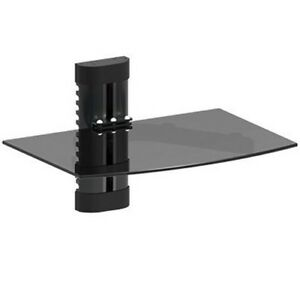 GLASS-SHELF-WALL-MOUNT-UNDER-TV-CABLE-BOX-COMPONENT-DVR-DVD-BRACKET