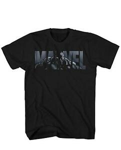 Marvel-Logo-Black-Panther-Avengers-Super-Hero-Adult-Men-039-s-Graphic-T-Shirt-Tee