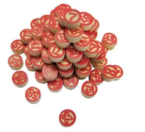 Sachet de 90 jetons de Loto en BOIS pour tirage manuel numérotés sur les 2 faces