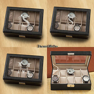 Leather Watch Box Organizer Jewelry Storage Personalized Glass Top