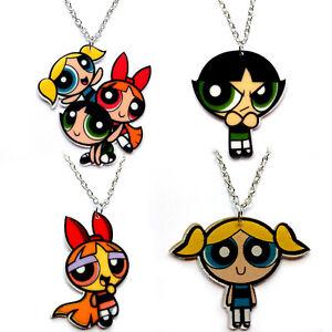 Powerpuff Girls Pretty Cute Retro Kitsch Cartoon Necklace Pendant