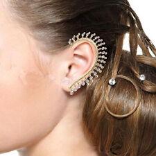 Fashion Gold Crystal Rhinestone Ear Cuff Wrap Clip On Earring Studs Punk Rock