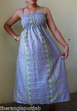Kleid Sommerkleid Seide Grün-Blau Größe M Handarbeit-Indien Gummizug weiter Rock