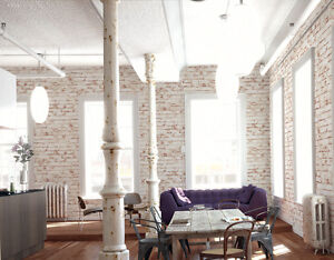 Realistic White Painted Distressed Red Brick Wall Effect Feature