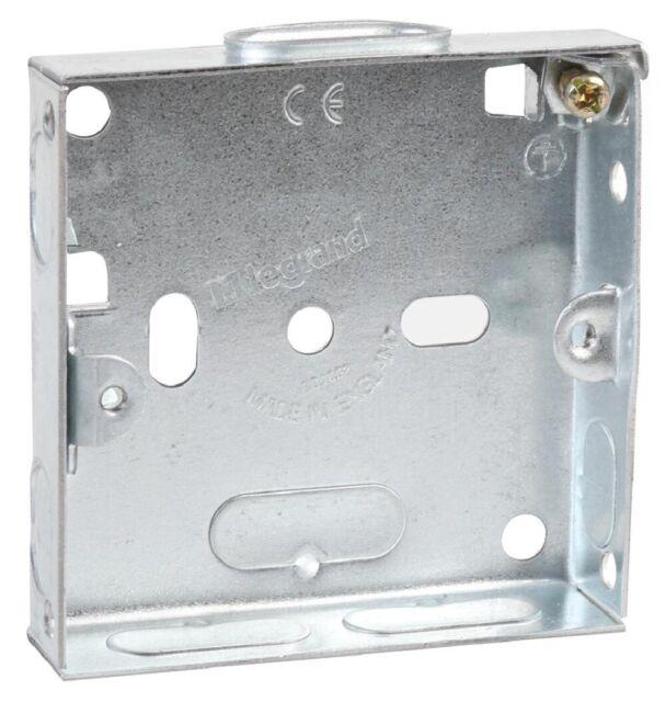 16mm Metal Pattress Back Box Single 1 Gang Flush Wall Socket Smooth Entry Points