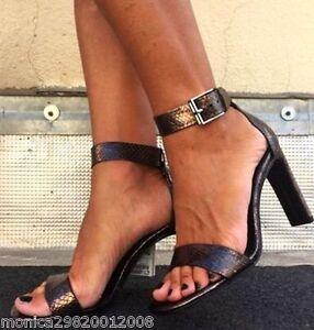 Eur 38 con in alto 36 di alla cinturino Sandali con tacco serpente Zara caviglia pelle H64Axqgw