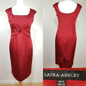 Laura-Ashley-Red-Fitted-Pencil-Bodycon-Dress-Size-12-Wedding-Satin
