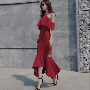 Elegante raffinato abito lungo donna rosso asimmetrico  evento sera  3349