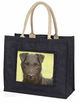 Patterdale Terrier Hund große schwarze Einkaufstasche Weihnachtsgeschenk IDE,