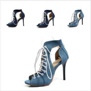 sports shoes a2a57 27eab Damenschuhe High Heels Peeptoe Übergröße Schnürschuhe ...