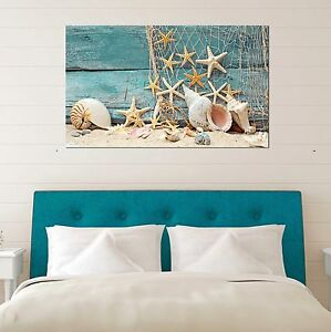 Framed-Canvas-prints-Shell-starfish-sand-Beach-view-pale-fence-modern-wall-art