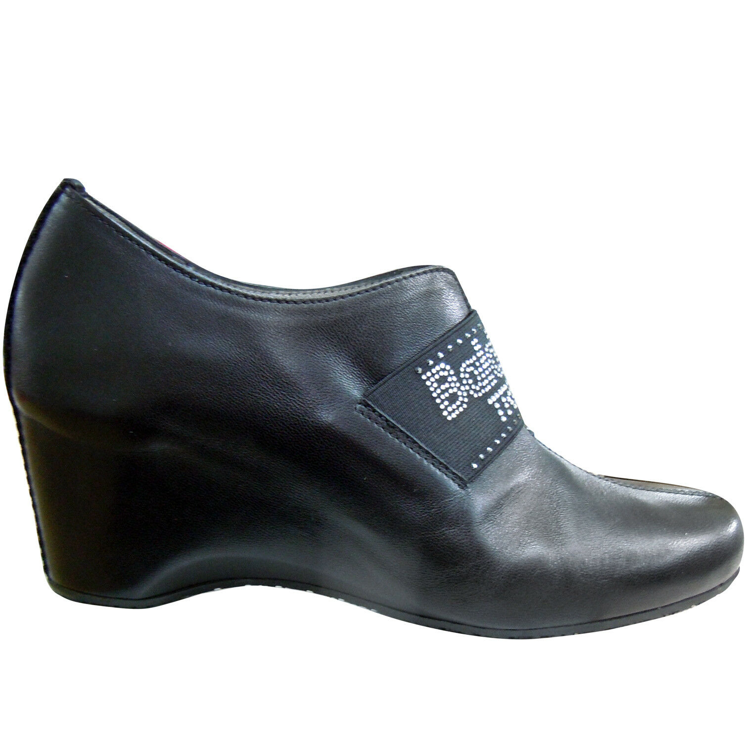 Baldinini Made in  black leather closed wedge shoes with crystals  360 39