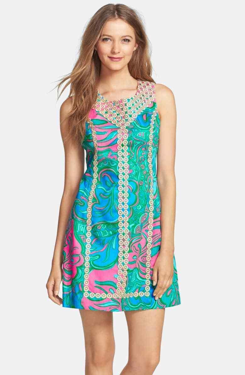 New  Lilly Pulitzer MacFARLANE SHIFT Dress LEOPARD Lounge & Gold Lace 0 8 10
