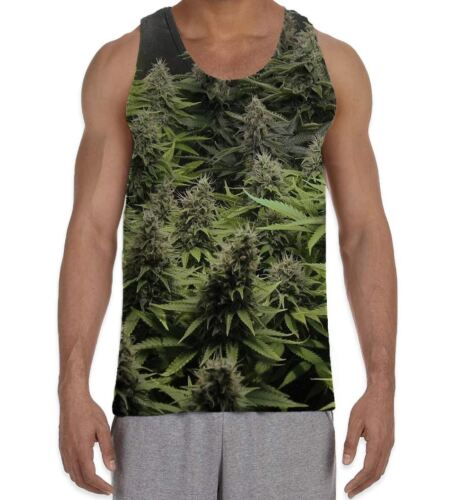 Weed Hydroponics Cannabis Buds Men/'s All Over Print Vest Tank Top
