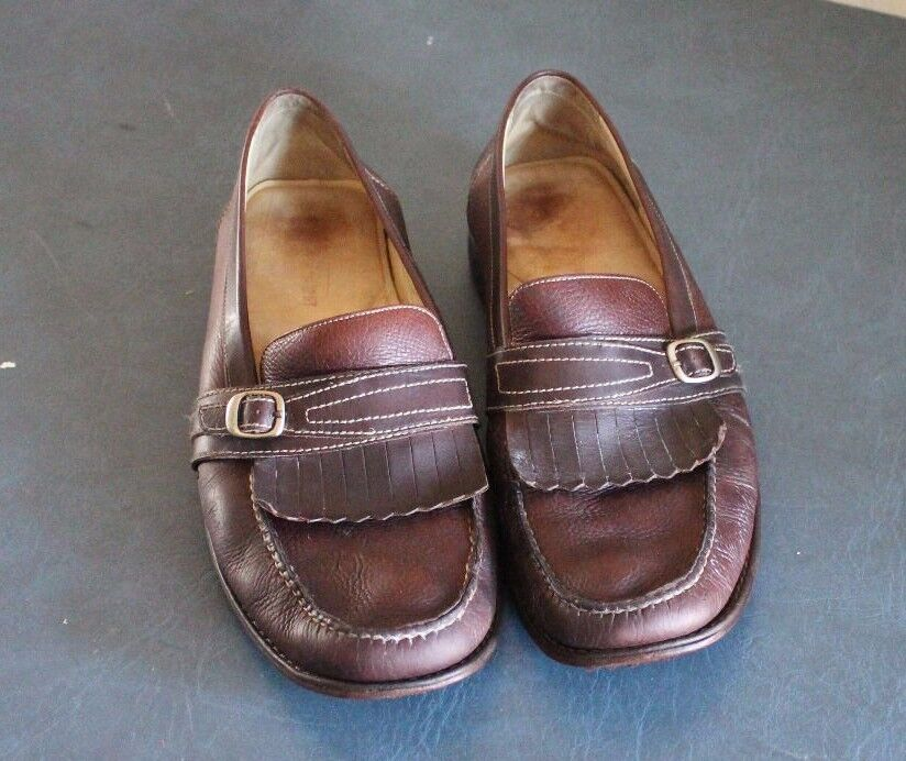 Johnston and Murphy Brown Leather Slip on Loafers Mens13M