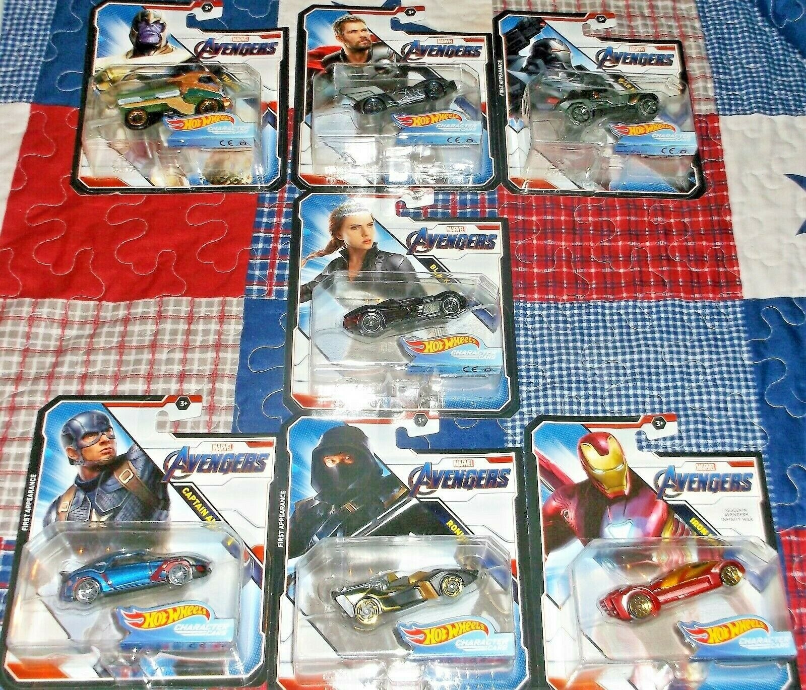 2019 Hot Wheels Marvel Avengers End Game Character Cars 7 Car Complete Set Dieca