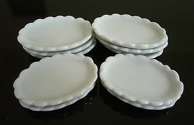 10 White Ceramic Oval Plates Dollhouse Miniatures Ceramic Food Supply Deco