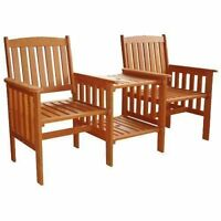 2 Seater Wooden Chair Garden Furniture Wood Patio Love Seat Outdoor With Table