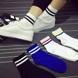 Unisex-Men-Women-Two-Stripes-Socks-Old-School-Skate-Skateboarding-Vintage