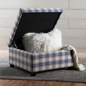 Enjoyable Details About Matias Blue Plaid Fabric Storage Ottoman Machost Co Dining Chair Design Ideas Machostcouk