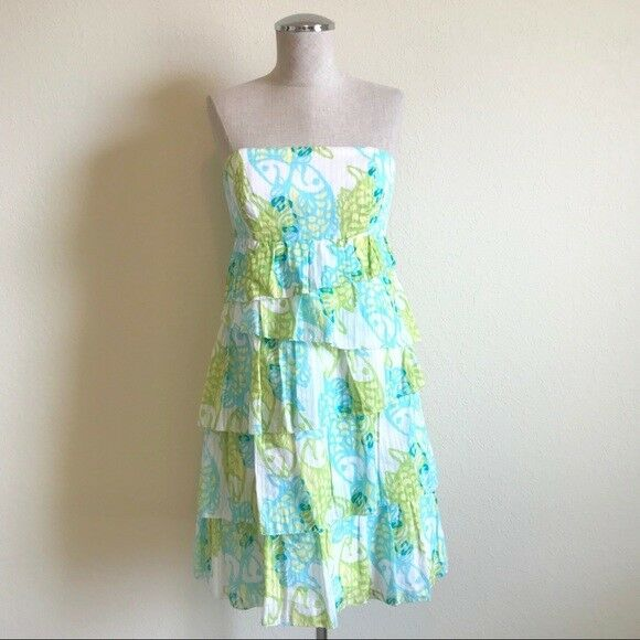 Lilly Pulitzer   Off The Hook Fish Strapless Dress, Sz 2, bluee, Green, Orig