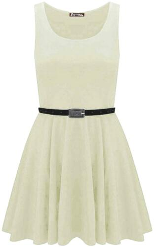New Womens Plus Size Belted Sleeveless Skater Going Out Dress