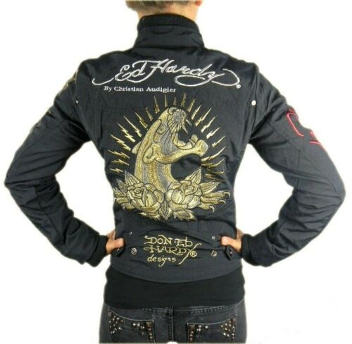 ED HARDY WOMEN/'S PREMIUM JACKET PANTHER TAUPE BLACK MSRP $248