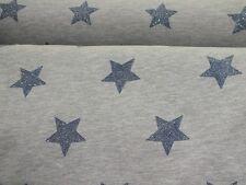 Sweatshirt Stoff angeraut jeansblaue Glitzersterne hellgrau meliert Kinderstoff