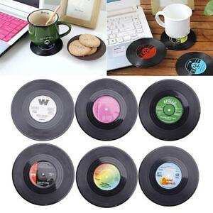 6x-Round-Vinyl-Coaster-Groovy-Record-Cup-Drinks-Holder-Mat-Tableware-Placemat-MT
