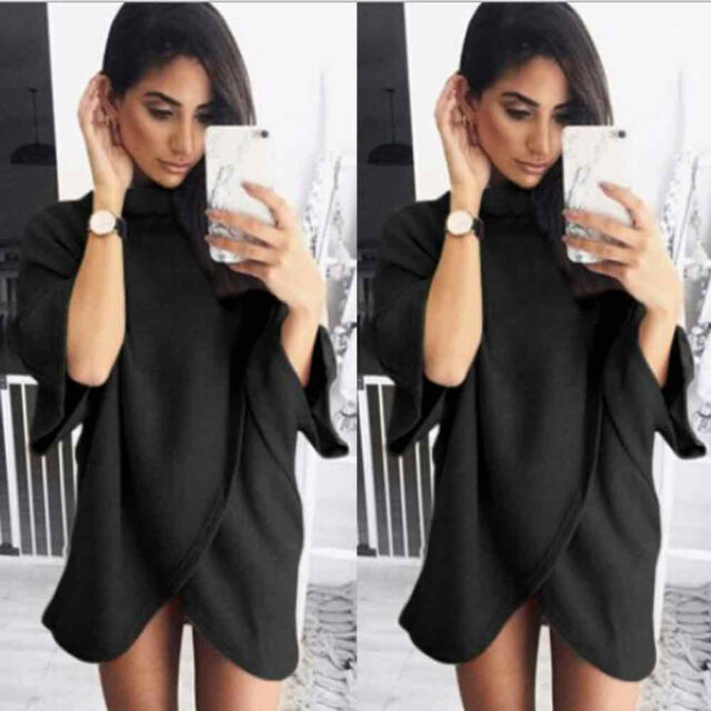 Womens Ladies Irregular Knitting Loose Turtleneck Sweater Tops Mini Dress