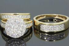 10K YELLOW GOLD 2 CARAT MEN WOMEN DIAMOND TRIO ENGAGEMENT WEDDING RING BAND SET