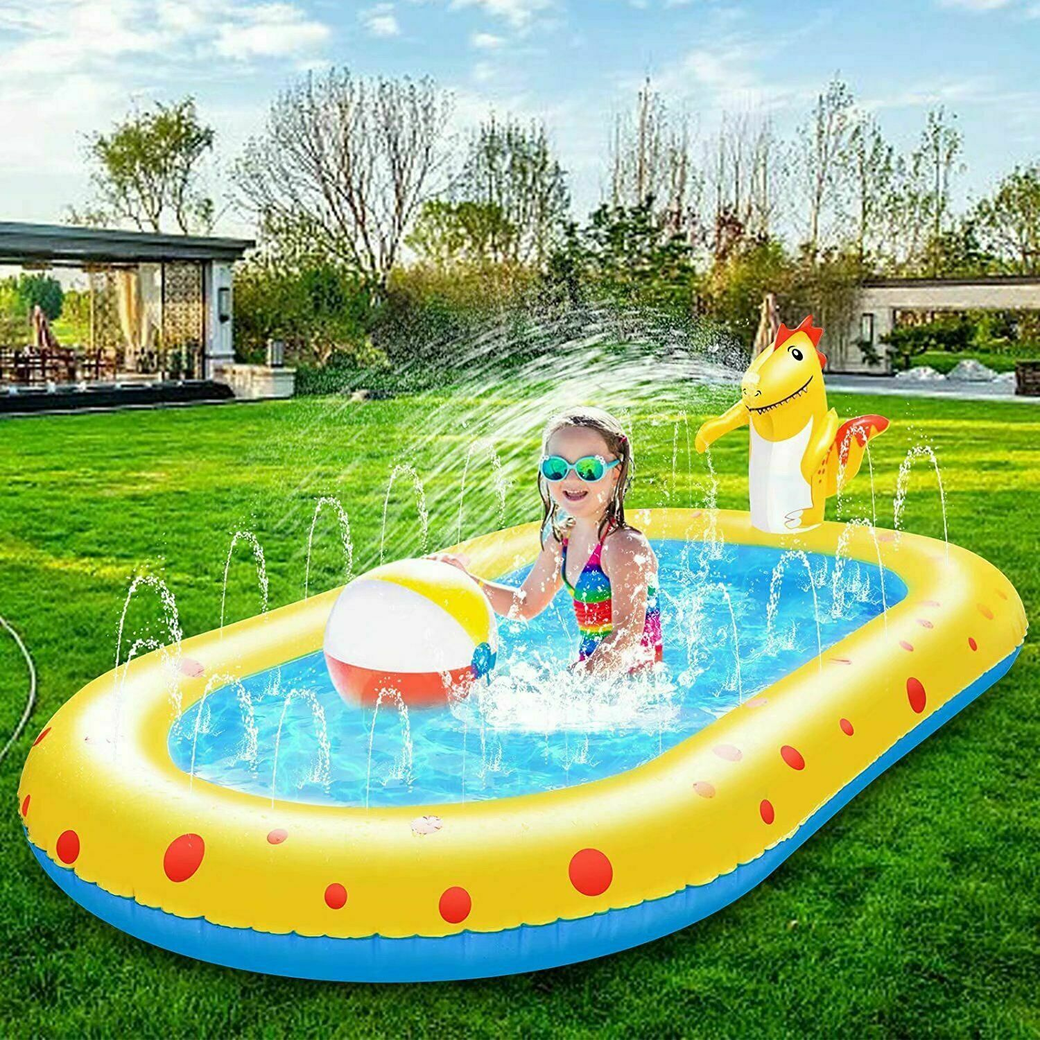 Inflatable Sprinkler Pool for Kids 3in1 Baby Pool Outdoor SplashPad for Toddlers