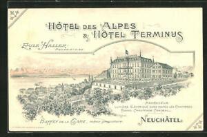 Lithographie Neuchatel, Hotel des Alpes & Hotel Terminus
