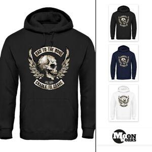 Hoodie Herren Biker Totenkopf Skull Motorrad Motorcycle Bone