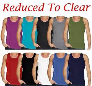 2 /& 3 Pack Mens Plain Vest 100/% Cotton Tank Top Summer Gym Sleeveless T Shirt 1
