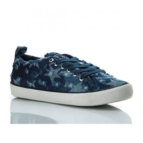Guess Damen Sneaker Schuhe Jeans-Look Sterne Blau