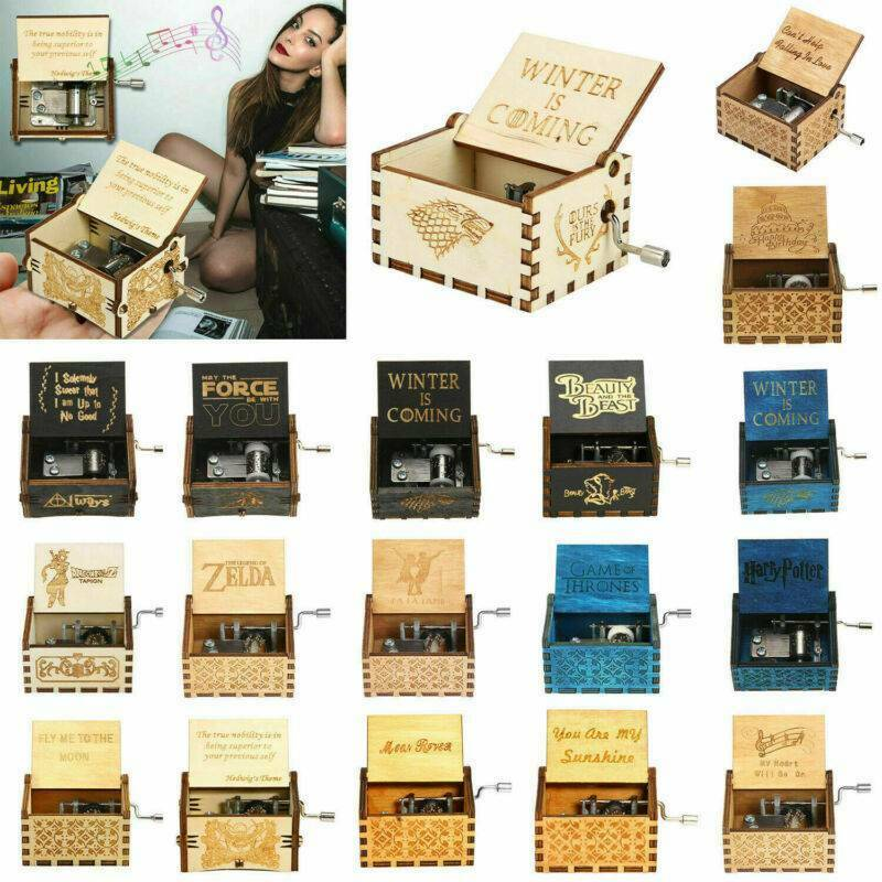 1# Fdit Wood Music Box Hand Crank Carved Wooden Music Box Wooden Engraved Music Toys Kids Gifts Home Decor