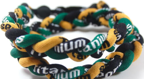"SALE 18/"" 3 Rope Twist Titanium Sport Necklace Green Gold Black Irish ND Tornado"