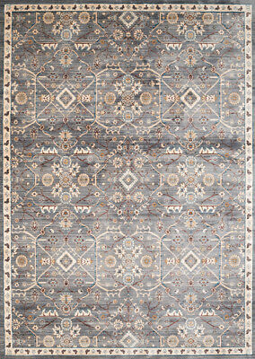 Blue Diamond Bordered Scrolls Transitional Casual Area Rug