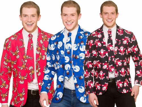 Christmas Suit Jacket Tie Matching Novelty Adults Xmas Fancy Dress M-XL